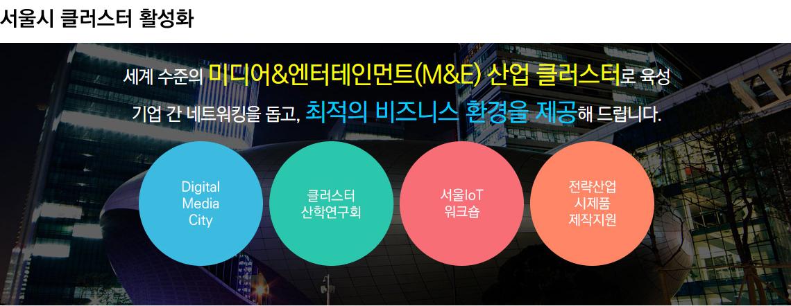 서울시 클러스터 활성화 / 세계수준의 미디어&엔터테인먼트(M&E) 산업 클러스터로 육성 / 기업 간 네트워킹을 돕고, 최적의 비즈니스 환경을 제공해 드립니다.